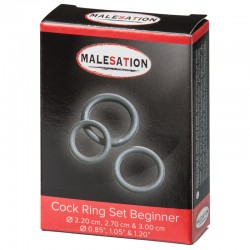 MALESATION Cock Ring Set Beginner (Ø 2,20 cm, 2,70 cm & 3,00 cm)